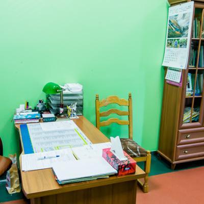 Gabinet z zielonymi ścianami